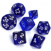 Blue & White Translucent Polyhedral 7 Dice Set
